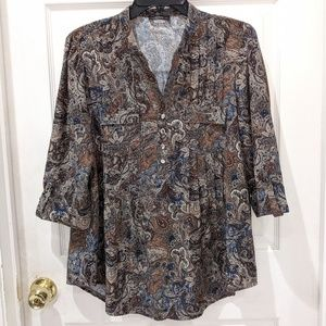 Cocomo Brown Paisley 3/4 Sleeve Blouse